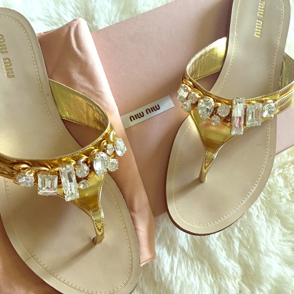 982ae202eda09 Miu Miu Crystal leather Sandals. M 5b7d8eb55bbb80e7b283b80e